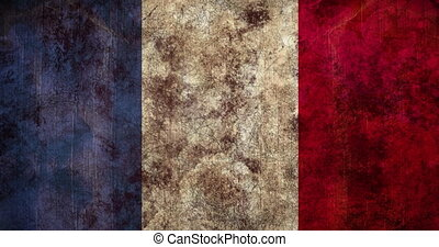 Animation of flickering distressed pattern moving in seamless loop over French flag in the background. Vintage colour and movement concept digitally generated image.