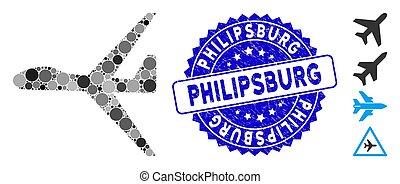 textured, philipsburg, mosaïque, uav, icône, timbre