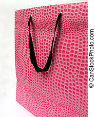 pink bag - textured pink bag with black handle