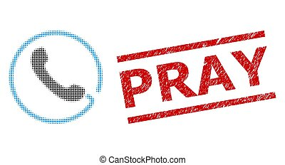 Textured Pray Seal Stamp and Halftone Dotted Phone - Phone ...