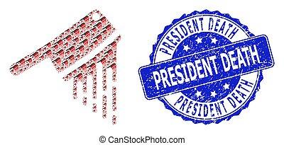 Textured President Death Round Seal Stamp and Recursive ...