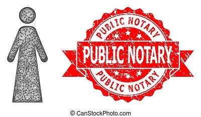 Textured Public Notary Seal and Hatched Woman Icon - Wire ...
