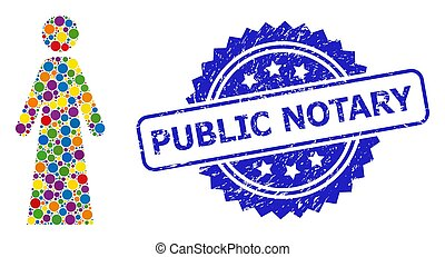 Textured Public Notary Seal and Multicolored Collage Woman...