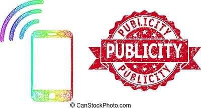 Rainbow colored network cellphone signal, and Publicity textured ribbon stamp seal. Red stamp seal contains Publicity text inside ribbon.
