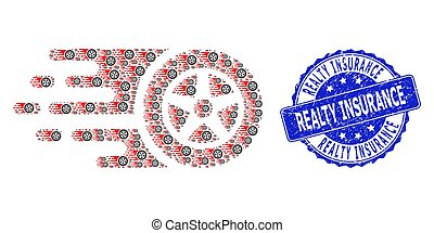 Textured Realty Insurance Round Seal Stamp and Recursion Tire Wheel Icon Collage