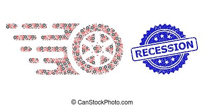 Textured Recession Seal and Recursive Tire Wheel Icon Mosaic