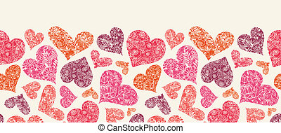 Textured Red Hearts Horizontal Seamless Pattern Border -...