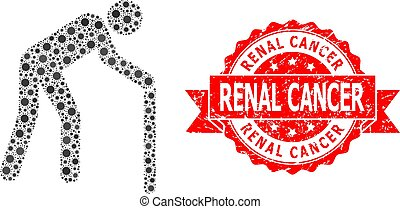 Textured Renal Cancer Seal and Corona Virus Mosaic Retired Person