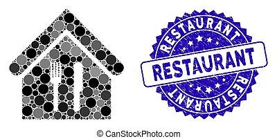 textured, restaurant, icône, timbre, mosaïque