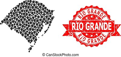 Textured Rio Grande Stamp and Marker Mosaic Map of Rio ...