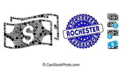 textured, rochester, waving, ícone, colagem, dólar, selo, notas