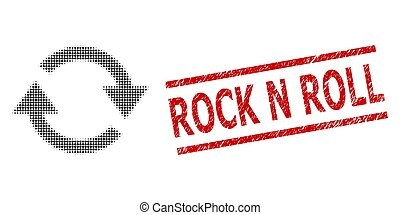 Textured Rock N Roll Stamp and Halftone Dotted Refresh