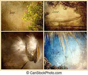 textured, saisons, texte, collage