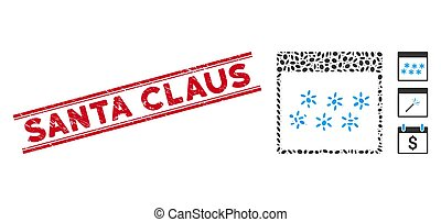 Textured Santa Claus Line Seal and Mosaic Snowflakes Calendar Page Icon