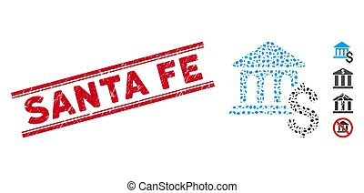 Textured Santa Fe Line Seal and Collage Pay Museum Icon