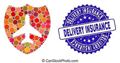textured, scudo, assicurazione, icona, collage, consegna, aviazione, sigillo