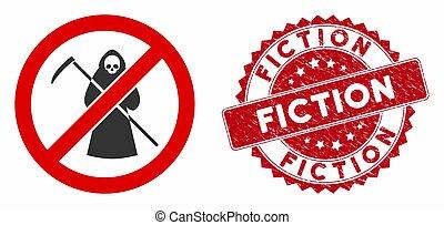 textured, scytheman, fiction, non, icône, cachet