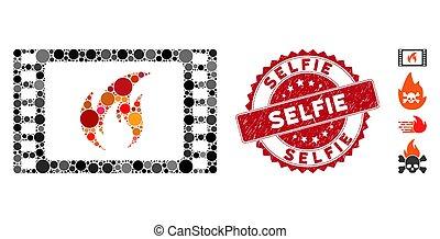 textured, selfie, シール, 暑い, コラージュ, アイコン, 映画