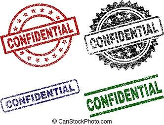 textured, selos, confidencial, selo, danificado