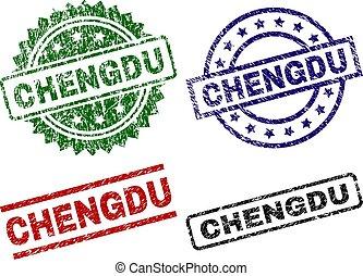 textured, selos, selo, chengdu, danificado