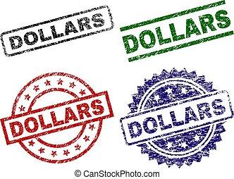 textured, selos, selo, danificado, dólares
