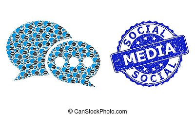 Textured Social Media Round Stamp and Fractal Forum Messages Icon Mosaic