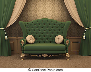 Textured Sofa with pillows and curtain drapery in luxurious apartment. Luxe. old styled interior.