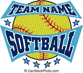 Textured Softball Team Name Design is an illustration of a ...