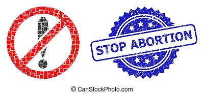 Textured Stop Abortion Stamp Seal and Square Dot Mosaic ...
