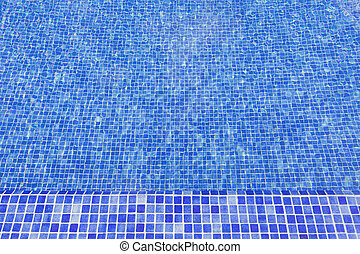 Textured surface of the pool water. With mosaic tiles.