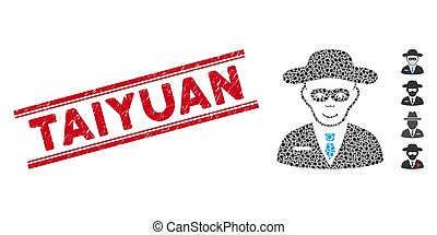 Textured Taiyuan Line Seal with Mosaic Security Agent Icon