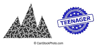 Textured Teenager Seal Stamp and Recursion Mountains Icon ...
