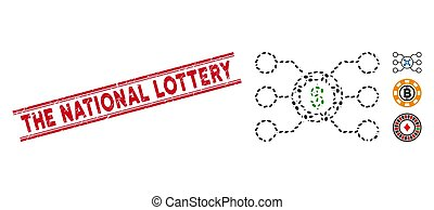 Textured The National Lottery Line Seal with Collage Casino Chip Circuit Icon