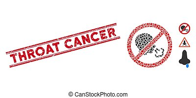 Textured Throat Cancer Line Seal with Mosaic No Sneeze Icon