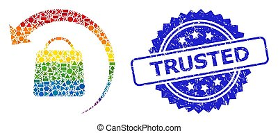 Bright vibrant vector refund shopping mosaic for LGBT, and Trusted unclean rosette stamp seal. Blue stamp seal includes Trusted caption inside rosette.