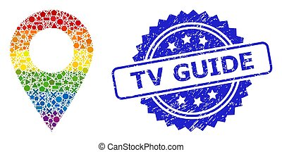 Textured TV Guide Stamp and Multicolored Geometric Map Marker Collage