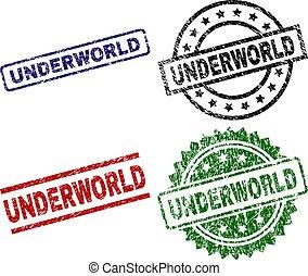 textured, underworld, selos, selo, danificado