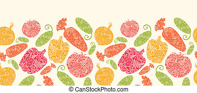 Textured vegetables horizontal seamless pattern background