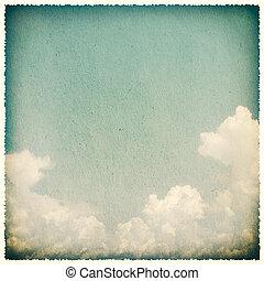 textured, vendange, papier, nuages, fond