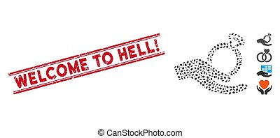 Textured Welcome to Hell! Line Stamp with Mosaic Wedding Ring Offer Hand Icon