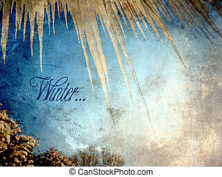 Textured winter image with icicles.