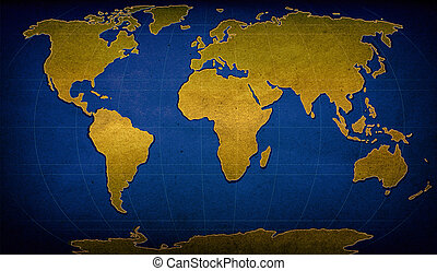 textured word map - illustration of world map on textured...