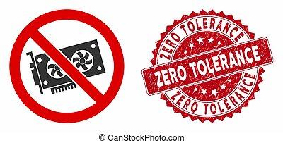 textured, zero, no, tolleranza, icona, francobollo, videocard