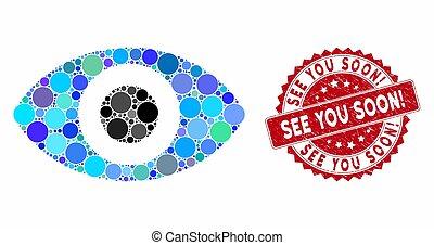 textured, zien, mozaïek, zeehondje, u, soon!, oog
