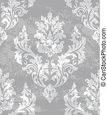texturen, grijs, damast, kleur, koninklijk, ornament, achtergrond., vector, modieus, modieus, decor.