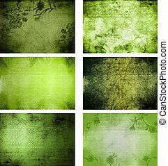 texturen, grunge, verzameling, achtergrond