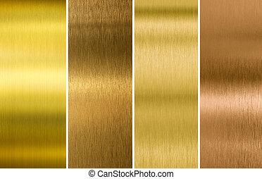 texturen, set, goud, metaal, gevarieerd, geborstelde, brons