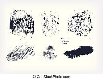 texturen, set, vrijstaand, verzameling, slag, vector