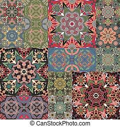texturen, stijl, checkered, lapwerk, pattern., set., achtergronden, seamless, floral, vector, tegel, oosten, abstract