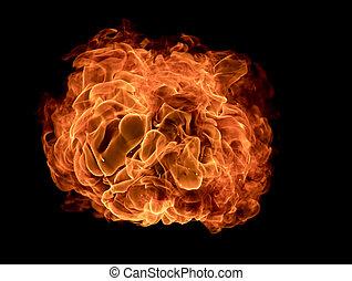 texturen, vuur, zwarte achtergrond, vlammen